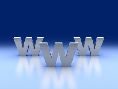 3d internet concept. Monument WWW.