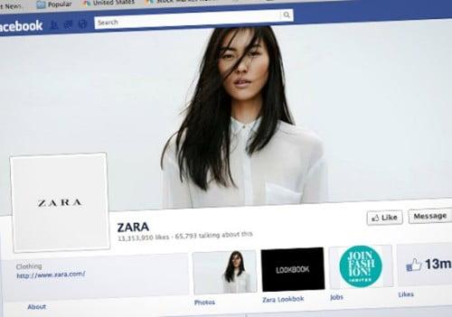 """Zara Những thương hiệu được """"Like"""" nhiều nhất trên Facebook"""