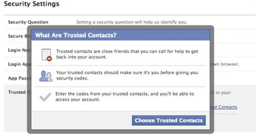 Bước 1: Vào Security Setting, chọn mục Trusted Contact, chọn Edit, click vào dòng Choose Trusted Contacts, Facebook sẽ hiện lên bảng mã như trên.